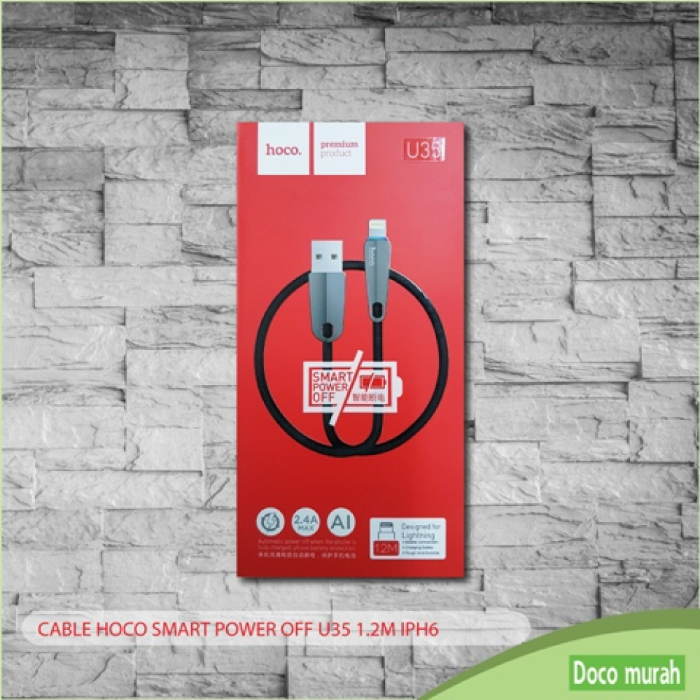 CABLE HOCO SMART POWER OFF U35 [1.2M] IPH6 (BLK)